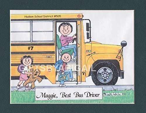 School Bus Driver Gift Personalized Custom Cartoon Print 8x10, 9x12 Magnet or Keychain by giftsbyabigail