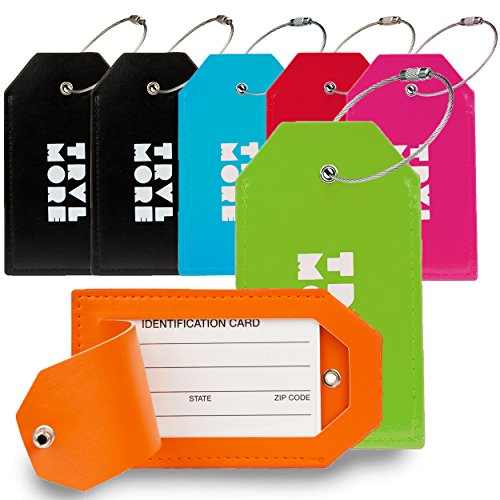 7 Pack TravelMore PU Leather Luggage Tags For Suitcases w/Privacy Cover - Travel ID Identifier Labels Set For Bags & Baggage - Men & Woman - Assorted