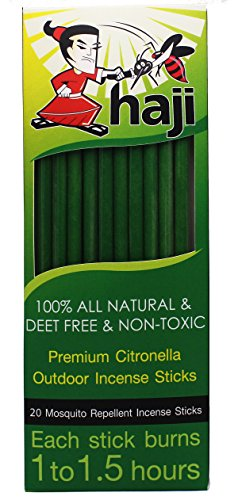 [Haji Brands Mosquito Repellent Sticks - All-natural Premium Citronella Outdoor Garden Incense Sticks with 1 - 1.5 Hour Burn Time - Natural Outdoor Incense - Deet Free - Non-Toxic - 20] (30 Second Costumes)