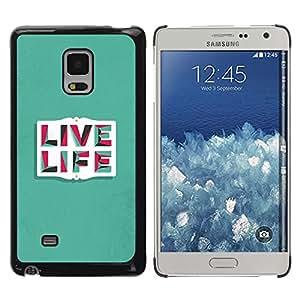 Paccase / Dura PC Caso Funda Carcasa de Protección para - Live Life Teal Inspiring Message Text - Samsung Galaxy Mega 5.8 9150 9152