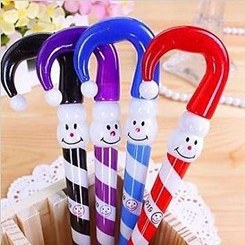 Cartoon paraguas de Navidad muñeco de nieve diseño bolígrafo plástico (Random Colorx1pcs) de material