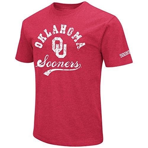 NCAA Colosseum Men's Vintage Dual-Blend T-Shirt with 2 Logos (Oklahoma Sooners-Crimson, Medium) (Ou Logo)