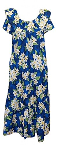 Jade Fashions Inc. Women Hawaiian Long Double Ruffle Blue Plumeria Muumuu-Blue--4XL ()