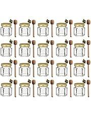 1.5 oz Hexagon Mini Glass Honey Jars with Wood Dipper, Gold Lid, 20 Pack…