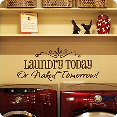Motto laundry today DIY Removable Art Vinyl Quote Wall Sticker Decal Mural Home Room Decor