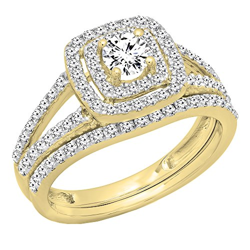 1.00 Carat (ctw) 10K Yellow Gold Round Diamond Split Shank Halo Engagement Ring Set 1 CT (Size 8) Solid 10k Gold Shank