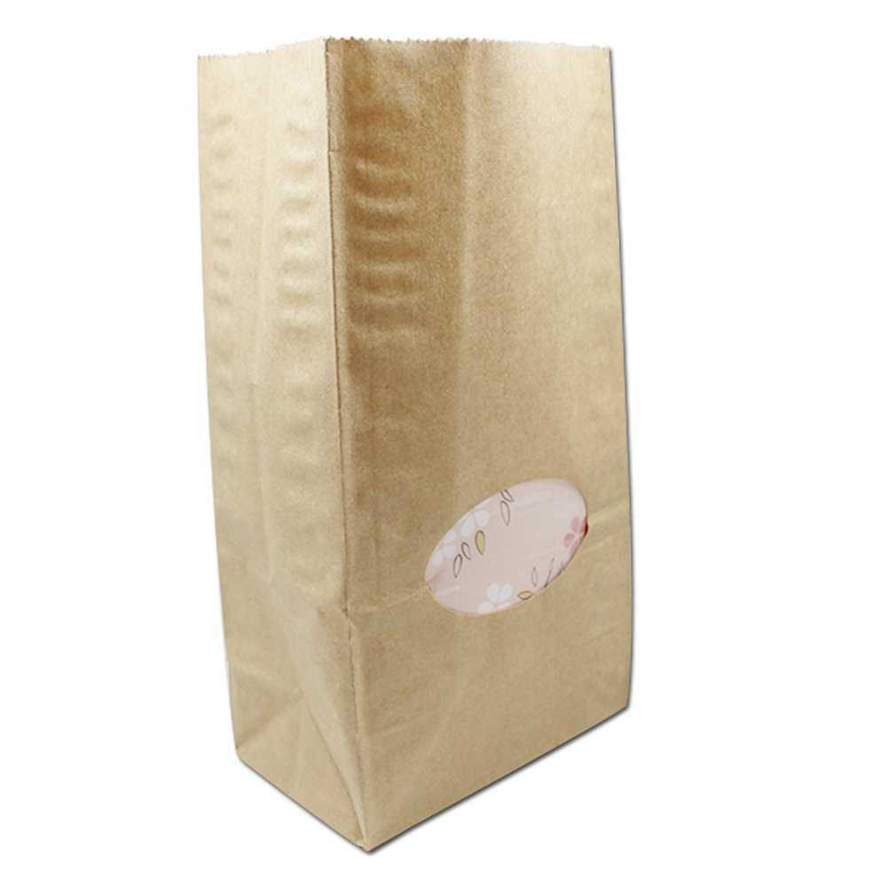 23x12x7.5cm (9.1x4.7x2.9 inch) Take Out Container Kraft Paper Bags with Window Stand Up Shopping Merchandise Paper Packaging Bags Tea Snack Bulk Food Storage Reusable Grocery Bags (300, Brown)