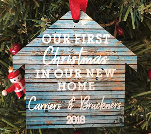Rustic Our First Christmas In Our New Home Personalized Ornament 2018
