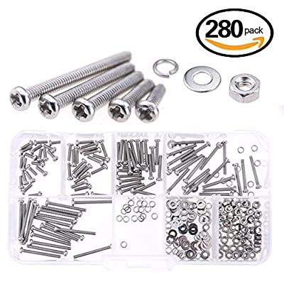 Glarks 280-Pieces M2 Pan Head Phillips Stainless Steel Screws Bolts Nuts Lock and Flat Gasket Washers Assortment Kit (M2)