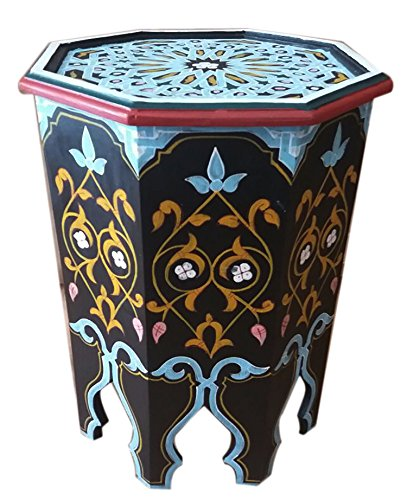 Moroccan Wood Side End Table Corner Coffee Handmade Moorish Black