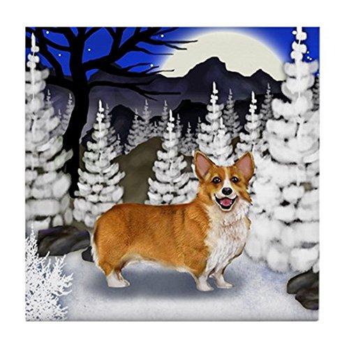 CafePress - WELSH CORGI DOG WINTER MOON Tile Coaster - Tile Coaster, Drink Coaster, Small Trivet ()