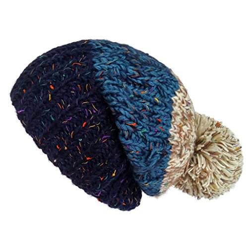 LETHMIK Women's Rainbow Beanie Hat Knit Slouchy Beanie Skully Ski Cap with Pom Blue