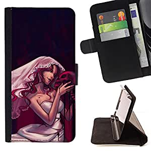 DEVIL CASE - FOR Samsung Galaxy S5 Mini, SM-G800 - Design Goth Skull Bride - Style PU Leather Case Wallet Flip Stand Flap Closure Cover