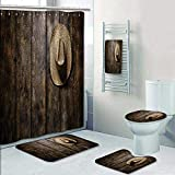 5 Piece Banded Shower Curtain Set American West rodeo country farmer traditional straw hat on distressed wood boards in a vintage Prints Decorate the bath,1-Shower Curtain,3-Mats,1-Bath towel