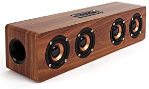 SEVIZ Four Retro Wireless Bluetooth Speaker, 40W Stereo Sound, Bluetooth 5.0 with 4 Hours Playback, Portable Speaker, for Home, for Outdoor, for Travel, FM Radio, 10m Wireless Range, Wooden Speaker