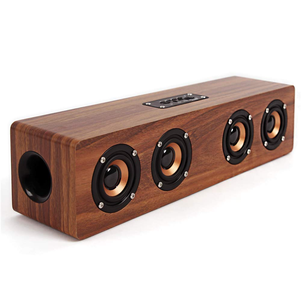 SEVIZ Four Retro Wireless Bluetooth Speaker, 40W Stereo Sound, Bluetooth 5.0 with 4 Hours Playback, Portable Speaker, for Home, for Outdoor, for Travel, FM Radio, 10m Wireless Range, Wooden Speaker