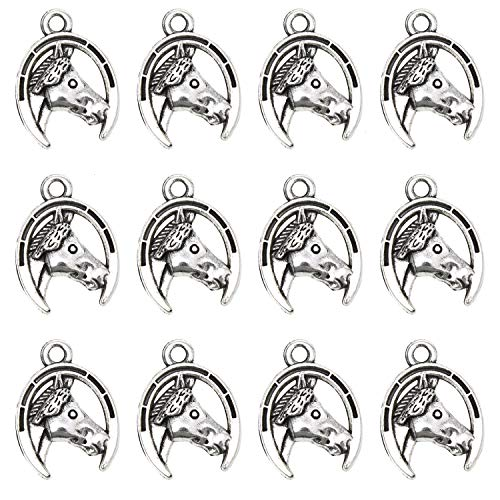 Monrocco 100 Pack Antique Silver Horse Head with Horseshoe Charms Pendant Bulk for Bracelets Jewelry Making