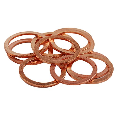 HIFROM 25pcs M22 Copper Washers Flat Ring Sump Plug Oil Seal Gasket Sealing Fitting Washers