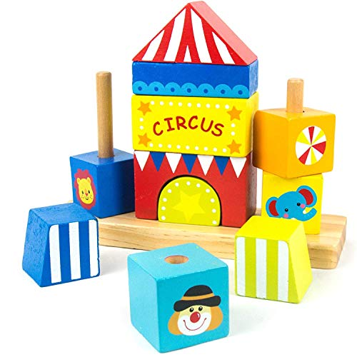 Timy Shape Stacker Wooden Educational Toys Shape Color Recognition Stacking Game for Baby Toddlers (Circus Toys)