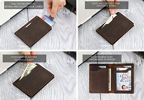 Wallets for Men Slim Mens leather RFID Blocking Minimalist Card Front Pocket Bifold Travel Thin (Texas Brown 5.0)