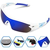 Torege Polarized Sports Sunglasses With 5 Interchangeable Lenes for Men...