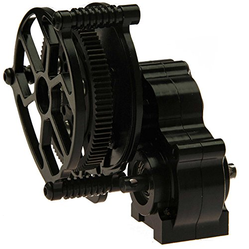 - Que-T Aluminum Alloy Center Transmission Case /Gearbox with Helical Gear for 1/10 Axial SCX10 RC Crawler Car (Black)