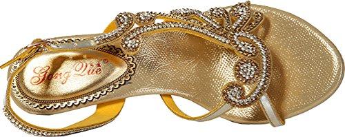 Womens Strass Performance Braut Schuhe Party L002 Glänzend Zehensandalen Offene Job Roman Freizeit Bridemaid Ferse Kätzchen Work Ziemlich Brautkleid Mode Gold Salabobo 5xAqwq
