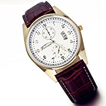 Lancardo Men's Casual Arabic Number Brown Leather Cuff Wrist Watches with Calendar with Gift Bag