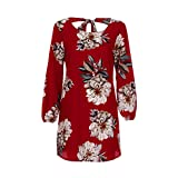 YAliDa 2019 clearance sale Womens Casual Long Sleeve Print Floral Ladies O-Neck Bow Mini Dress (X-Large,Red)
