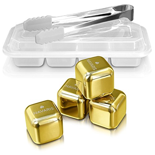 - Navaris 4x Stainless steel whiskey stones - ice cube set whiskey stones - cubes in gold for cocktails wine rum drinks - in box with pliers