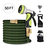 Garden Hose, Flexible Expandable Anti-Leakage Lightweight Hose with Solid Brass Fittings 9 Function