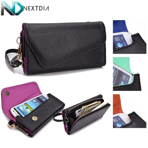LG G3 S / Beat Womens Wristlet Clutch Case Semi-Gloss Black with Matte Inception Purple with Credit Card Holder