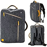 Gearmax® Transformierbare Multifunktionale Canvas Wasserdicht Stoßfeste Backpack Rucksack Bag mit Multi-Taschen als Rucksack-Hand und Satchel verwendet Fit für Größte 15,4 Zoll Ultrabook / Laptop / Notebook (Dunkelgrau)
