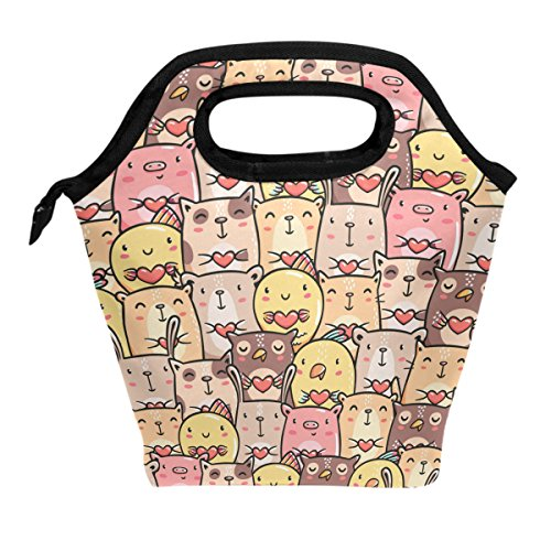 ALAZA Lunch Tote Bag Funny Cat Dog Pig Owl Rabbit Chicken Insulated Cooler Thermal Reusable Bag, Colorful Love Kitty Rooster Piggy Animal Lunch Box Portable Handbag for Men Women Kids Boys Girls