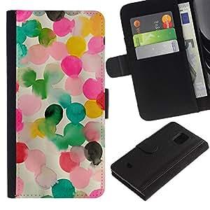 Samsung Galaxy S5 Mini / SM-G800 (Not For S5!!!) Modelo colorido cuero carpeta tirón caso cubierta piel Holster Funda protección - Pink Mother Kids Mom Child