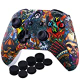 YoRHa Printing Rubber Silicone Cover Skin Case for Xbox One S/X Controller x 1(Beasts) With PRO Thumb Grips x 8