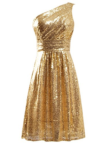 JAEDEN Simple One Should Gold Bridesmaid Dresses Short Sequin Dress for Prom Party Cocktail Homecoming Gown Rose One Should Gold XS