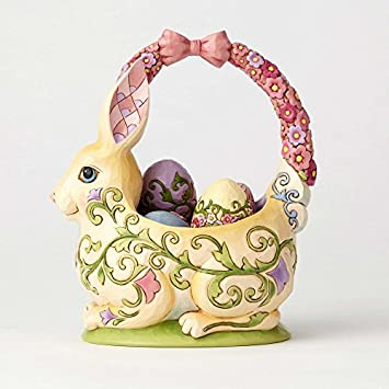 Enesco Jim Shore Heartwood Creek Bunny Basket with Four Eggs Stone Resin, 7.5 Figurine