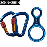 AYAMAYA-30KN-Screwgate-Locking-Climbing-Carabiners-2-Pack-Figure-8-DescenderOutdoor-D-ring-Hook-Rappel-Device-for-Rappelling-Belaying-Rock-ClimbingBlue