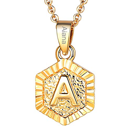 FOCALOOK Personalized Necklace 18K Gold Plated Tiny Letter Initial A Pendant Customize Name Necklace Gifts for Women ()
