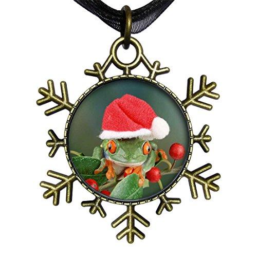 GiftJewelryShop Bronze Retro Style Holly Hopping Santa Frog Snowflake Charm Pendant Necklace