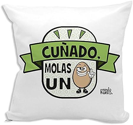 Cojín + Relleno. Cuñado, molas un Huevo. 42,5 x 42,5 cm. Agradable Tacto Algodón: Amazon.es: Hogar