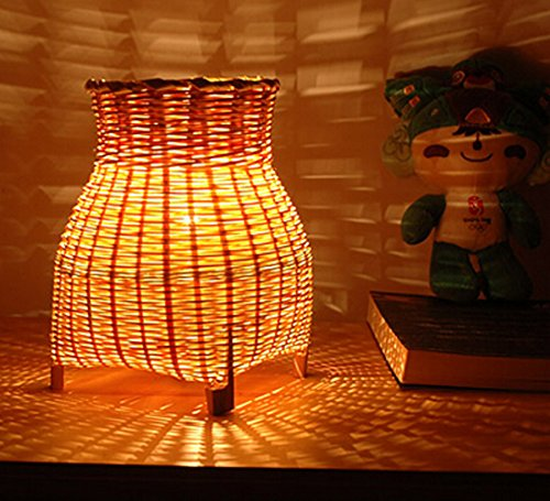 Handmade Craft Bamboo Art Bedside Living Room Light Table Lamp Shades Home Bedroom Garden Decor Modern Design Gift