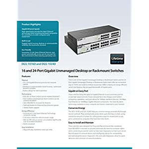 D-Link 24-Port Gigabit Unmanaged Desktop/Rackmount Switch, 3-pin DIP switch w/ real-time toggling (EEE), Flow Control…