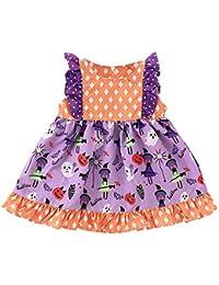 Childrens Sleeveless Ruffled Pumpkin Cartoon Polka Dot Print Dress Toddler Baby Halloween Ruffles Patchwork Dress
