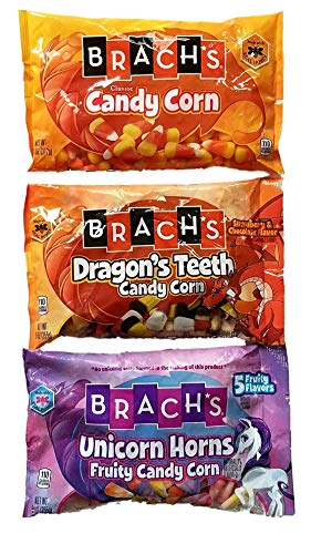 Classic Candy Corn 11 Oz, Dragon's Teeth Candy Corn 9 Oz, Unicorn Horns Candy Corn 9 Oz - Variety Pack Bundle of 3 by Brach'sCandyCorn