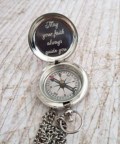 Engraved Silver Compass, Custom Engraved Working Compass, Personalized Compass, Baptism Compass, First Communion Gift