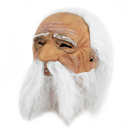 Makeup Halloween Masks (Old Man Mask Overhead Long Beard and Hair Latex Grand pappy Halloween Costume Dress)