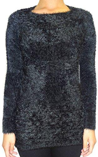 Señoras de las mujeres mullido peludo elástico de cuello redondo de manga larga de puente Tamaño 6 8 10 12 Negro