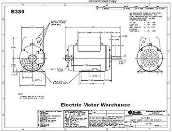 5 HP SPL 3450rpm R56HZ Frame 208-230 Volts Replacement Air ... B Century Ac Motor Wiring Diagram on